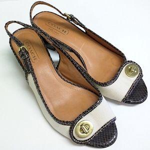 Coach Rare Vintage Slingback Open-Toe Heels Sz 8.5